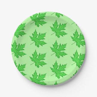 Oak leaf - shades of green 7 inch paper plate