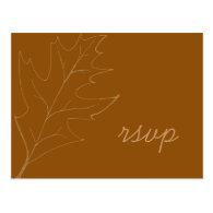 Oak Leaf Wedding RSVP Response Postcard