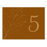 Oak Leaf Wedding Table Number Post Cards