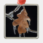Oak Leaf with Ice Sickles After Ice Storm ; Metal Ornament