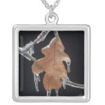 Oak Leaf with Ice Sickles After Ice Storm ; Square Pendant Necklace