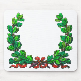 Oak leaf wreath and ribbon mousepad