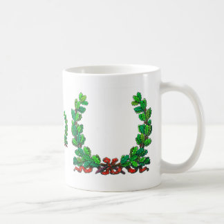 Oak leaf wreath and ribbon classic white coffee mug