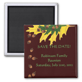 Oak Leaves and Acorn Family Reunion Save the Date Refrigerator Magnet
