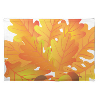 Oak Leaves and Acorn in Fall Illustration Placemat