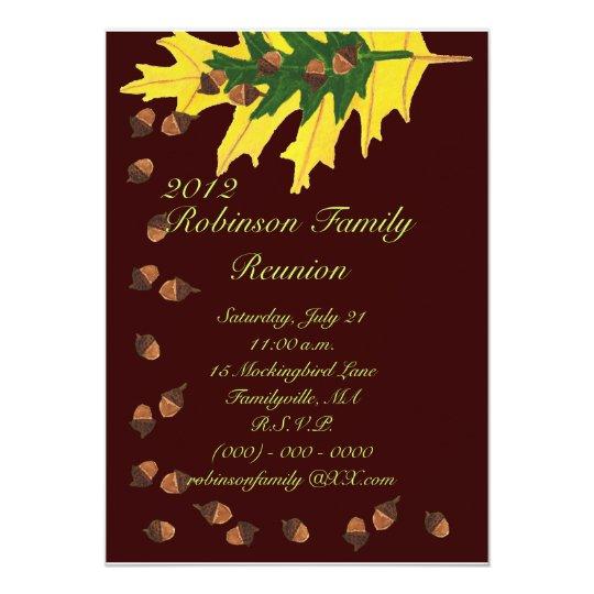 Oak Leaves and Acorns Family Reunion Card