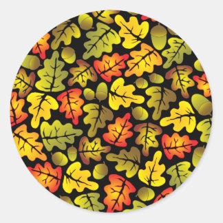 oak leaves classic round sticker