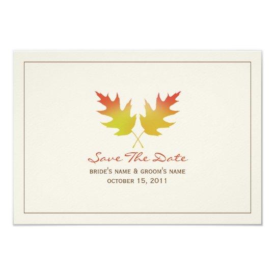 Oak Leaves Fall Wedding Save The Date Card