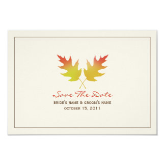 Oak Leaves Fall Wedding Save The Date Announcements