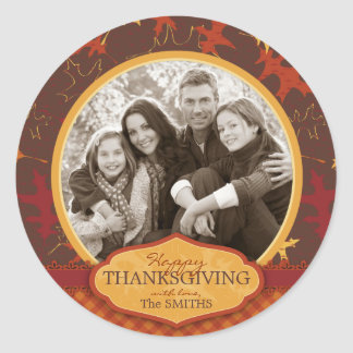 Oak Leaves in Fall Colors for Thanksgiving Classic Round Sticker