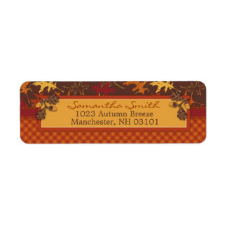 Oak Leaves in Fall Colors for Thanksgiving Label