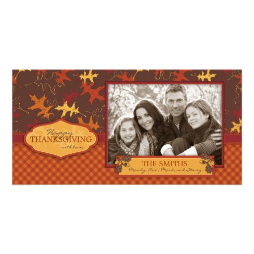Oak Leaves in Fall Colors for Thanksgiving Photo Card Template