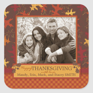 Oak Leaves in Fall Colors for Thanksgiving Square Sticker