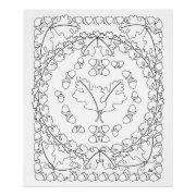 Oak Leaves Art Poster Ready to Color