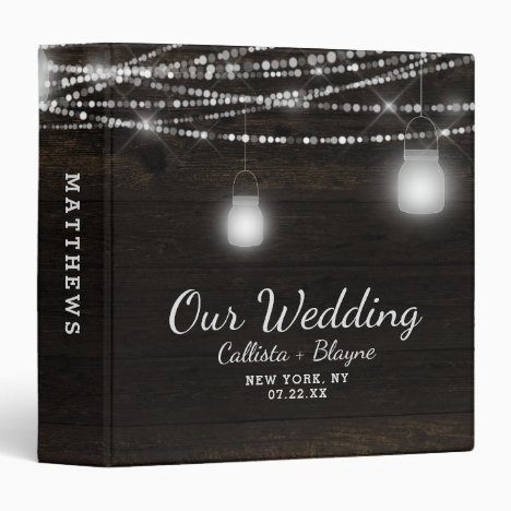 Oak Ridge Rustic Dark Wood Wedding Photo Album 3 Ring Binder