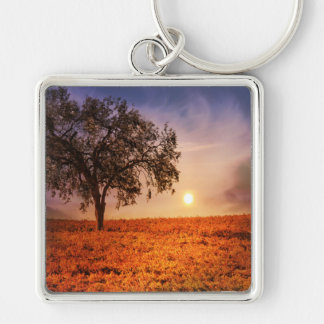 Oak Tree And Vineyard Surreal Key Chain