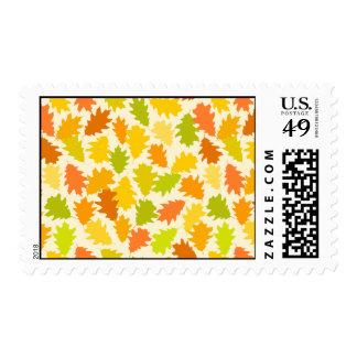 Oak tree autumn leaves postage stamps