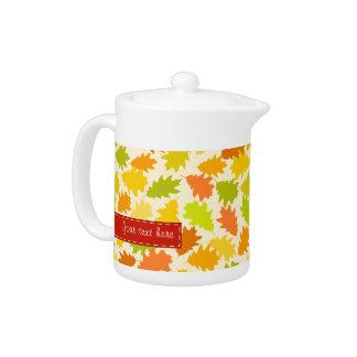 Oak tree autumn leaves teapot