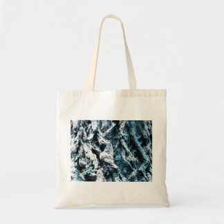 Oak tree bark blue tint background texture tote bags