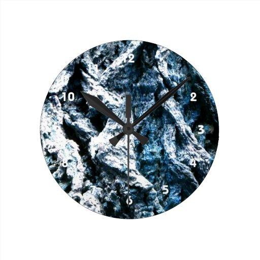 Oak tree bark blue tint background texture round wall clock