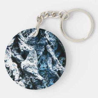 Oak tree bark blue tint background texture acrylic keychain