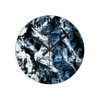 Oak tree bark blue tint background texture round clock