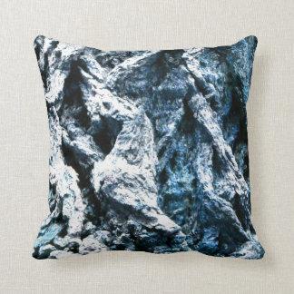 Oak tree bark blue tint background texture throw pillow