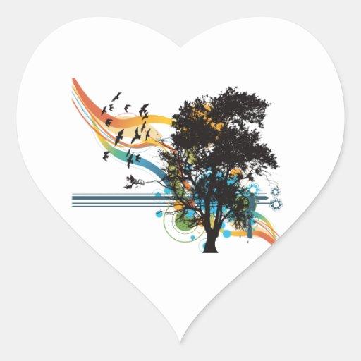 Oak tree birds rainbow swirls heart sticker