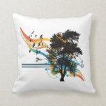 Oak tree birds rainbow swirls throw pillows