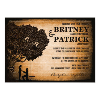Oak Tree Carved Initials Wedding Invitations