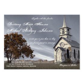 Oak Tree Country Church Wedding Invitation