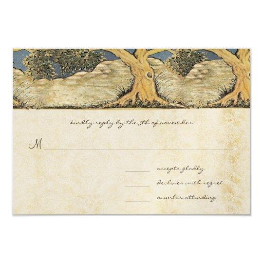 Oak Tree Distressed Damask Metallic Elegance Card