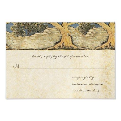 Oak Tree Distressed Damask Metallic Elegance 3.5x5 Paper Invitation Card