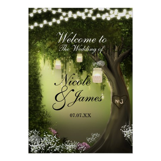 Oak Tree Enchanted Forest Garden Wedding Poster
