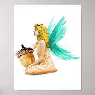 Oak Tree Fairy holding Acorn Poster