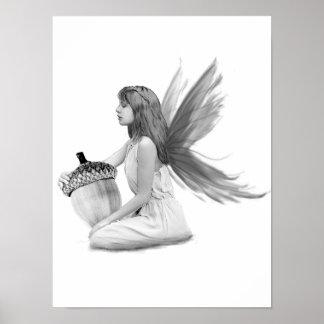 Oak Tree Fairy with Acorn Poster