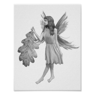 Oak Tree Fairy with Leaf Poster
