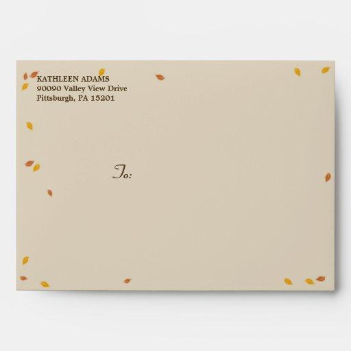 Oak Tree Fall Wedding - A7 Envelope Envelopes