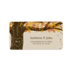 Oak Tree Fall Wedding Address Labels