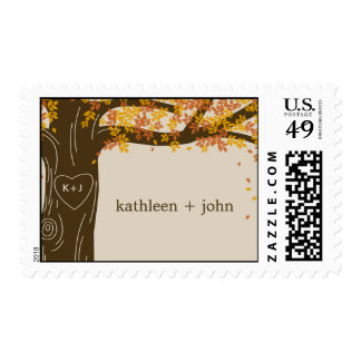 Oak Tree Fall Wedding Custom Postage Stamp