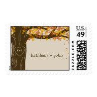 Oak Tree Fall Wedding Custom Postage Stamp Stamps