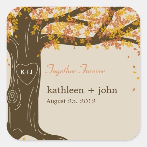 Oak Tree Fall Wedding Favor Sticker Square Stickers