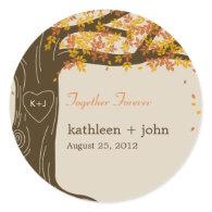 Oak Tree Fall Wedding Favor Sticker Sticker