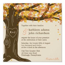 """Oak Tree Fall Wedding Invitation 5.25"""" Square Invitation Card at Zazzle"""