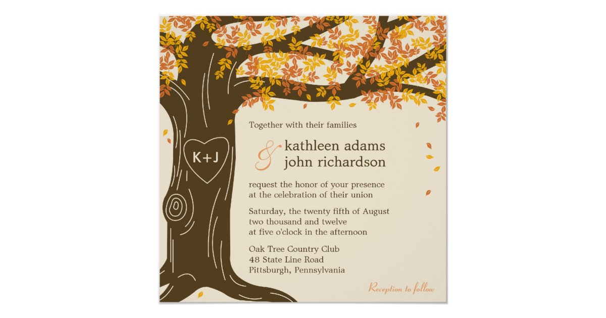 Oak Tree Fall Wedding Invitation Zazzle Com