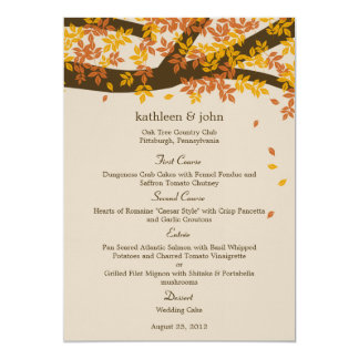 Oak Tree Fall Wedding Menu Card
