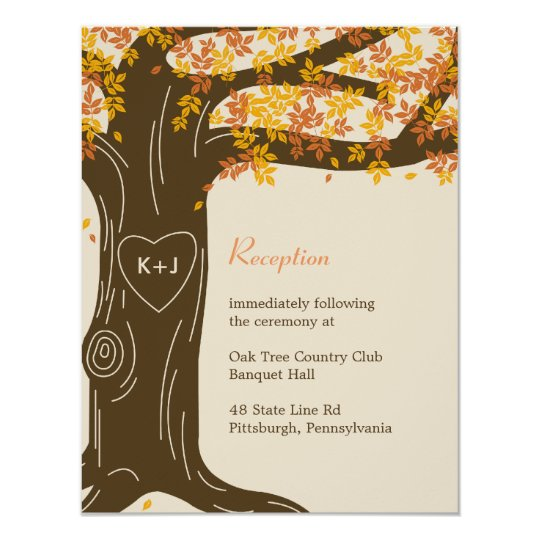 Oak Tree Fall Wedding Reception Card