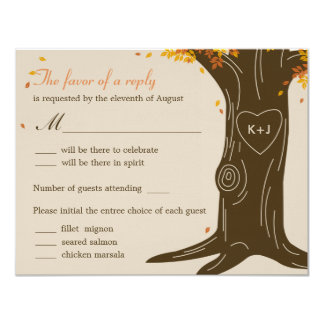 Oak Tree Fall Wedding RSVP Card w/ Menu Selection Custom Invitations