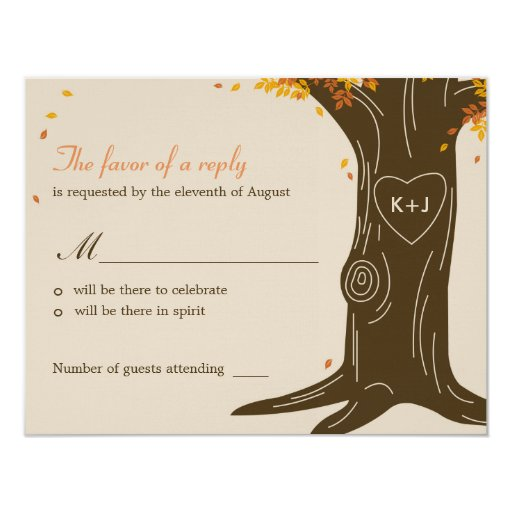 "Oak Tree Fall Wedding RSVP / Response Card 4.25"" X 5.5"" Invitation Card"