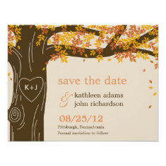 Oak Tree Fall Wedding Save The Date Card Announcement